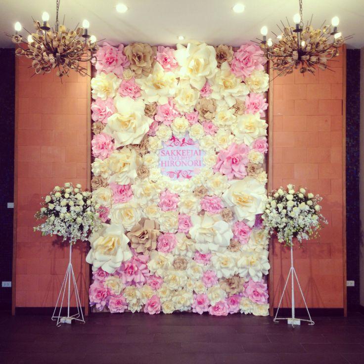 Wedding Altar Selfie: Paper Roses Backdrop