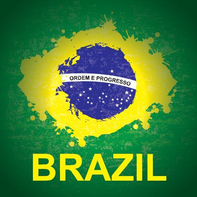 vector beautifull Brazilian flag splash with Typography