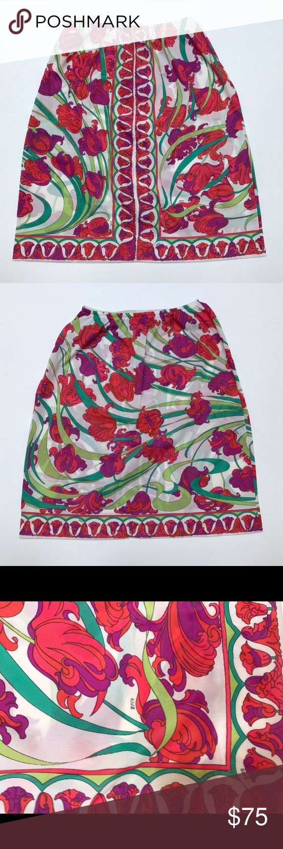 Vintage Emilio Pucci Iris Floral Half Slip Skirt Vintage 1960s Emilio Pucci for Formfit Rogers half slip that looks great as a skirt.  Elastic waist.  Iris floral print in red, purple and green. Waist: 22-34.  Length: 22 Emilio Pucci Skirts