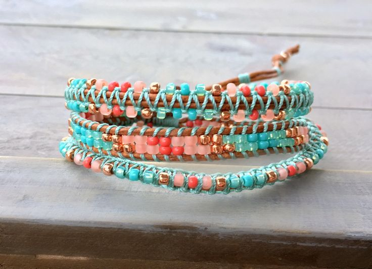 Coral, Teal, and Copper 3x Textured Macrame Boho Wrap Bracelet