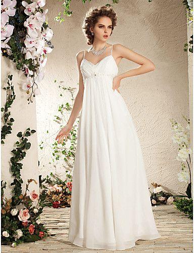 Sheath/Column Spaghetti Straps Floor-length Chiffon Wedding Dress - USD $ 299.99