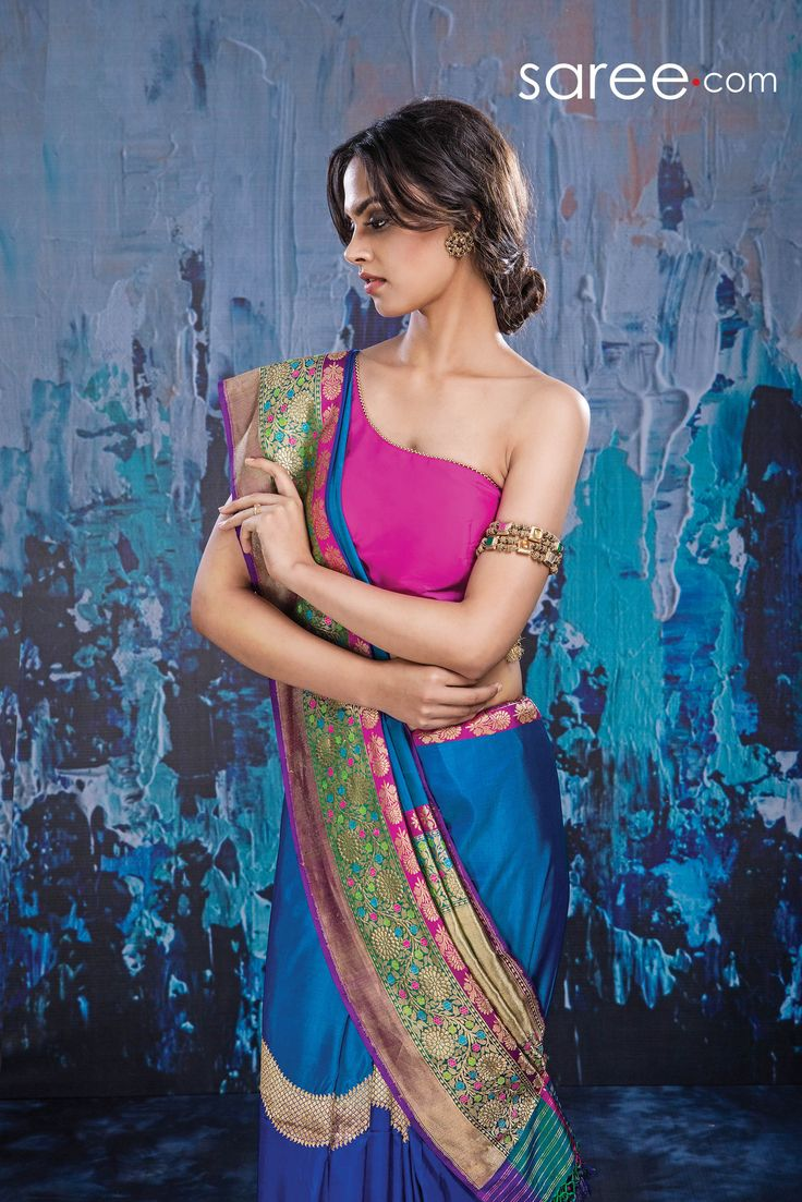 BLUE AND GREEN BANARASI SILK SAREE WITH WEAVING WORK