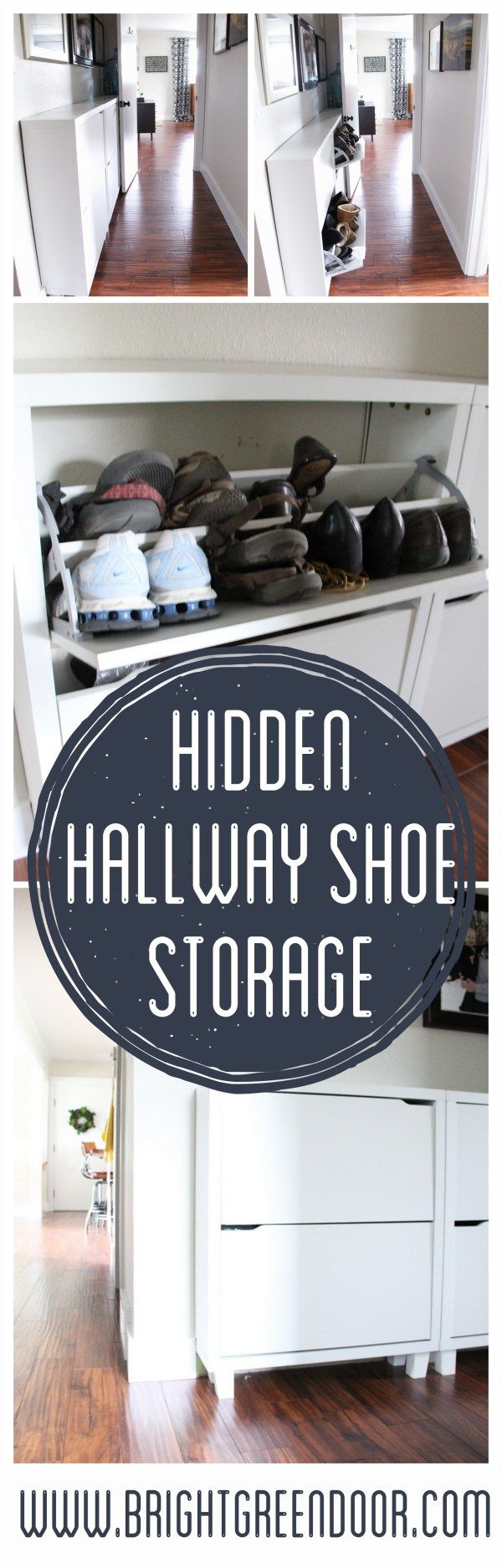 Hallway Shoe Storage Solution Shoe Cabinets in Hallway www.BrightGreenDoor.com