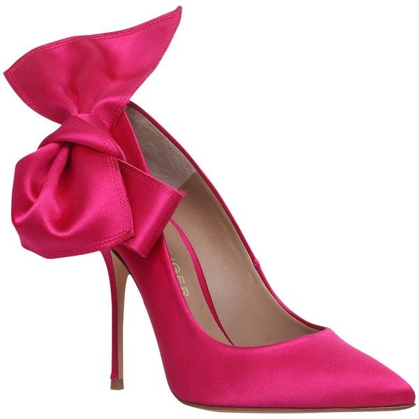 Kurt Geiger Evie High Heel Court Shoes, Hot Pink Satin ($285) ❤ liked on Polyvore featuring shoes, pumps, heels, pointy-toe pumps, pointed toe high heel pumps, stiletto pumps, high heeled footwear and high heel stilettos