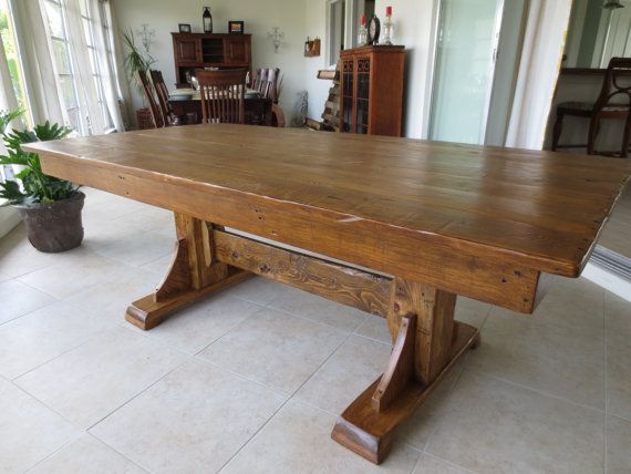 Reclaimed wood dining room table by theurbanmill on etsy for Nice wood dining table