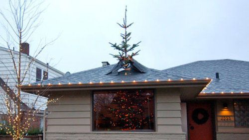 Christmas tree busting through roof