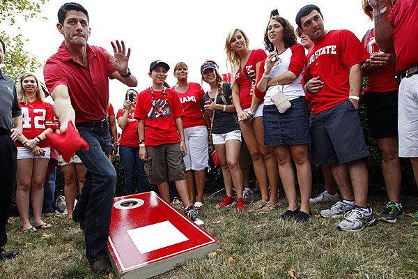Republican vice presidential candidate Rep. Paul Ryan plays #Cornhole during a tailgate party at the Ohio State University-Miami University of Ohio football game at Ohio Stadium in Columbus, Ohio. www.gockel-cornhole.com