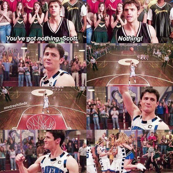 Nathan making his free throw without even looking and winning the game. This was a great moment. One Tree Hill.
