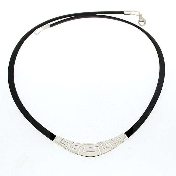 Meander greek key silver necklace Greek jewelry by ThetisTreasures