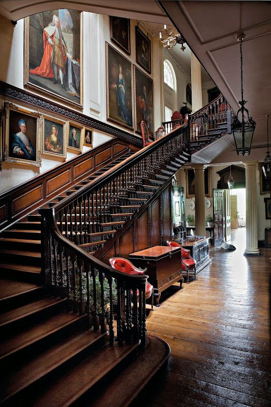 Staircase at Badminton House - Badminton House is a large country house in Badminton, Gloucestershire, England, and has been the principal seat of the Dukes of Beaufort since the late 17th century.