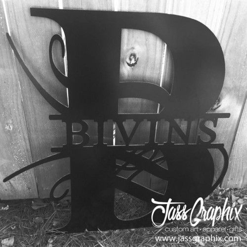 Personalized last name sign made of aluminum composite pane. This custom made metal signs feature a big initial and your last name.
