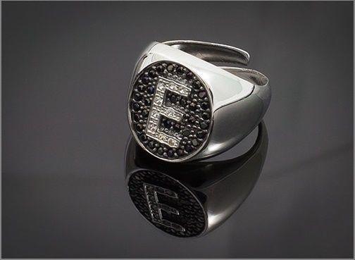Anello Donna Think Positive regolabile con iniziale E in argento 925 e swarovski