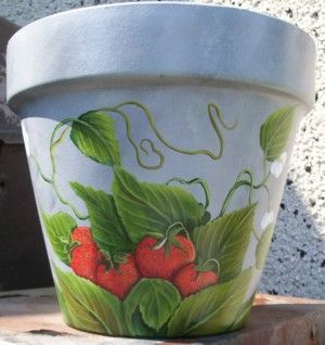 images of handpainted clay pots | Hand painted clay pot - purple Grapes on Mint Green