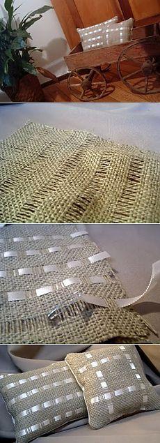 Декоративные подушки из мешковины / KNITLY.com - блог о рукоделии, мастерклассы