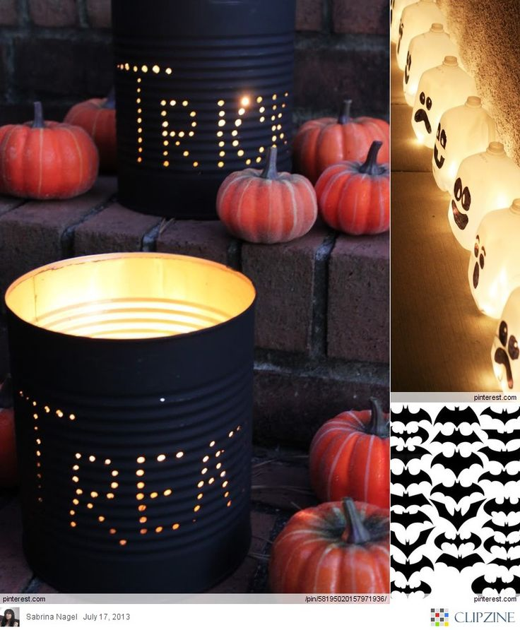DIY spray can an empty can and make some holes that spell out whatever you want and place a small candle inside to reflect the words on the can and place on your porch or front yard!! Awesome for Halloween