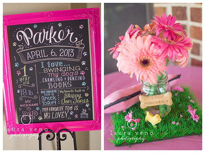 Parker's puppy-themed first birthday party, Laura Veno Photography. Favorite Things Poster by Moulage Collection. The colorful design is customized with her stats, favorite things, and of course paw prints to match the theme!