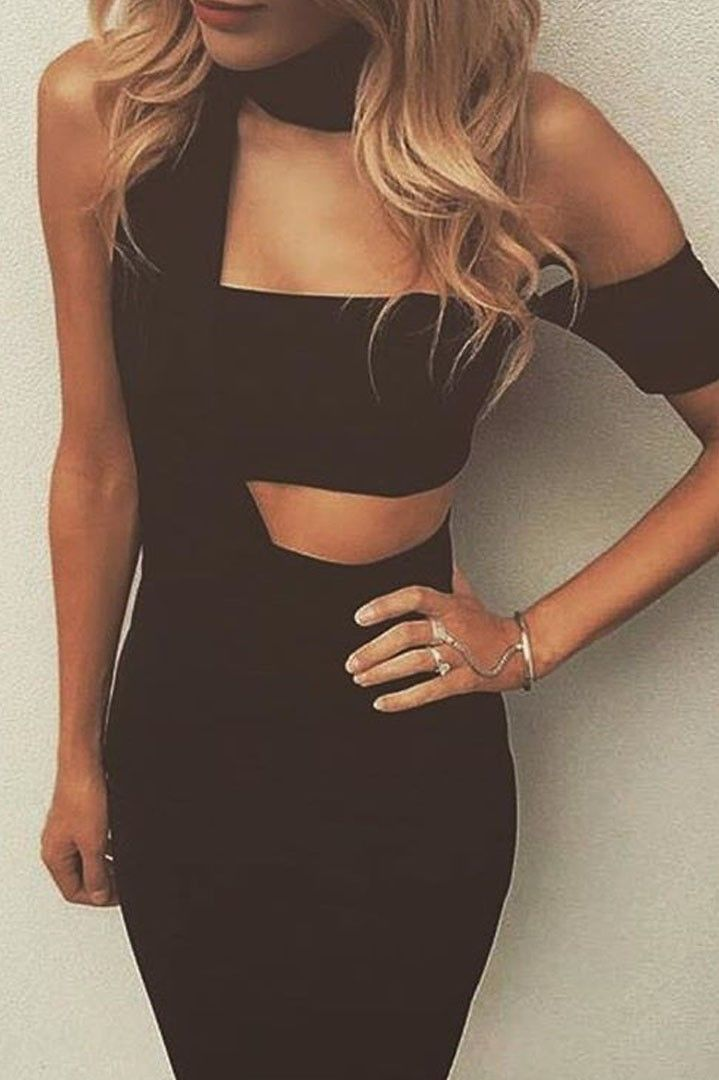 Emma μαύρο φόρεμα με cut-outs