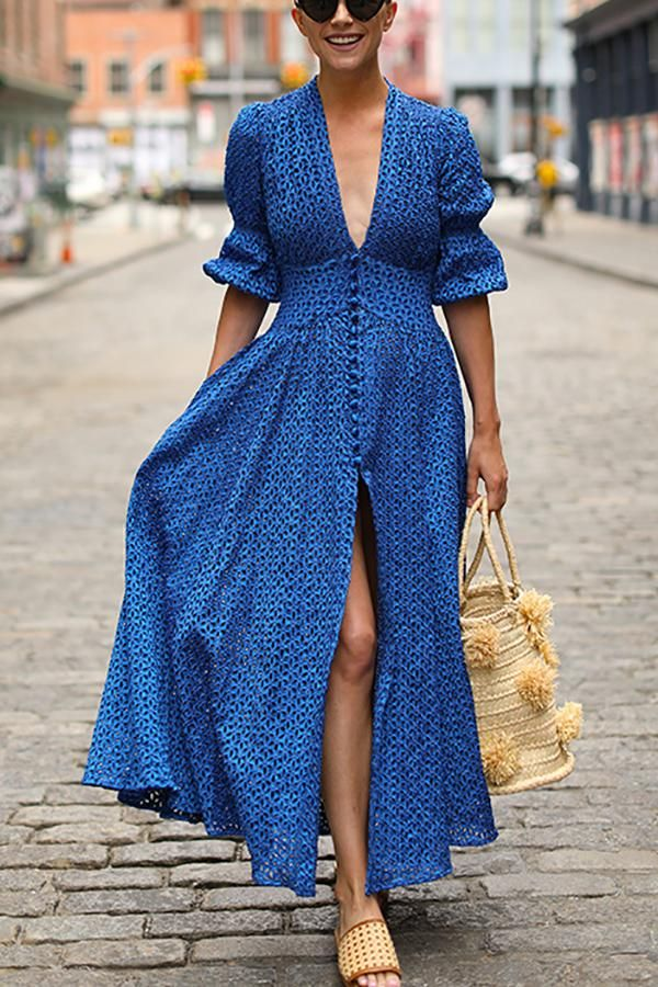 963bf56c39cfc Deep V-Neck Maxi Dress in 2019 | Clothes & Such | Dresses, Fashion ...
