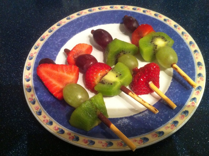 Mikado kebabs. Half syn each.  I found the mikado sticks broke quite easily so I made a hole in the fruit before I put it on the sticks.