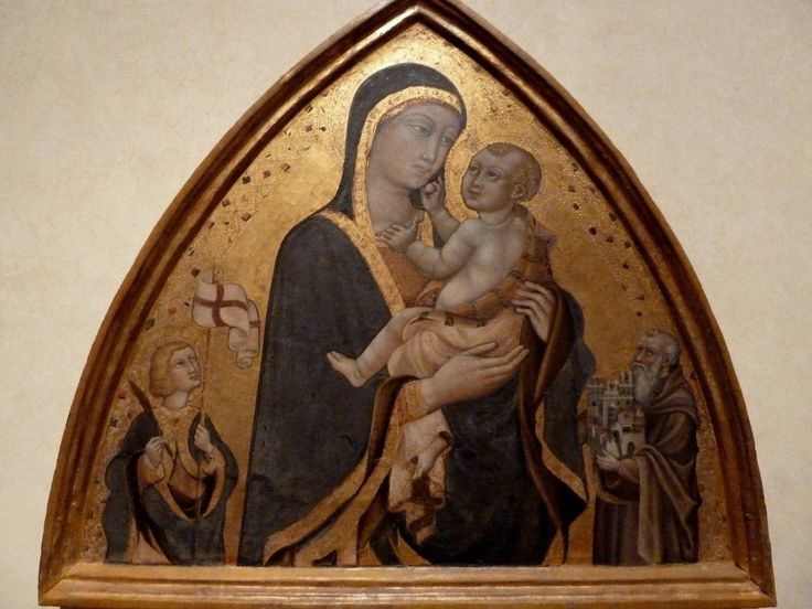 Приамо делла  Кверча. Мадонна с младенцем св. Ансано и св. Октавианом. 1450е гг, Вольтерра, Пинакотека.