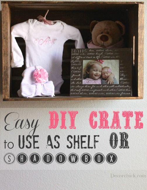 Easy DIY Crate Shelf or Shadowbox from @decorchick: Crates Shadowbox, Crates Shelves, Families Ideas, Crates Shelf, Shadows Boxes, Diy Crates, Easy Diy, Diy Shadowbox, Baby Stuff