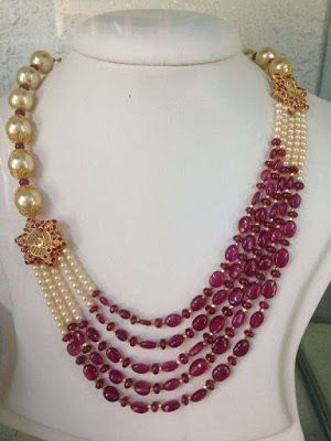 Jewellery Designs : #@ Pearls and Rubies Step chain with Gold flower