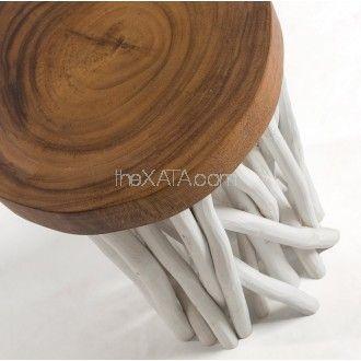 Оригинальный круглый деревянный пуф от Лаформа. Основа-сосна, сидение-акация