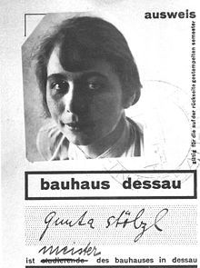 Gunta Stölzl (5 March 1897 – 22 April 1983) was a German textile artist who played a fundamental role in the development of the Bauhaus school's weaving workshop. As the Bauhaus's only female master she created enormous change within the weaving department as it transitioned from individual pictorial works to modern industrial designs.