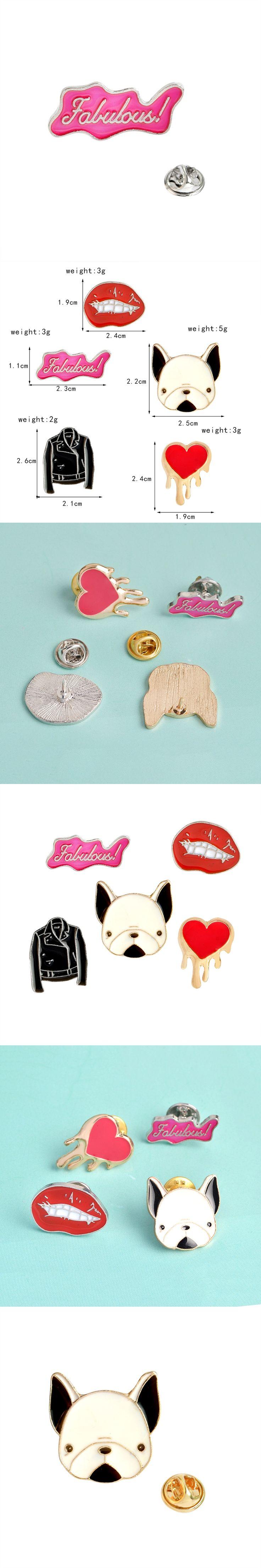 Cartoon Fabulous PU Jacket Red Lip Heart French Bulldog Brooch Button Pins Brooch Denim Jacket Pin Badge Gift Fashion Jewelry