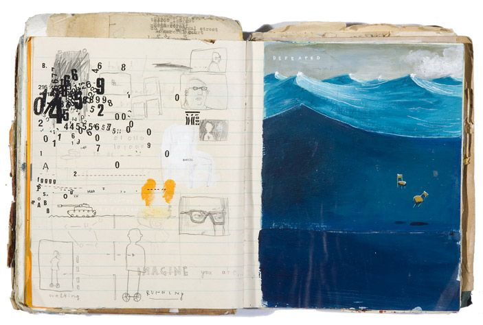 I wonder how he treated the page. It looks like ordinary notebook paper but it took a really thick layer of paint. (Oliver Jeffers Sketchbook/Journal)