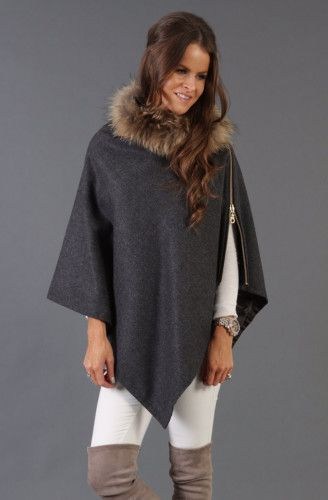 Holland-Cooper-Tweed and Fur Wrap (Charcoal)-013