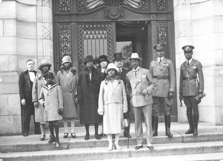 Charles D. B. King, 17th President of Liberia (1920–1930), with his entourage on the steps of the Peace Palace, The Hague (the Netherlands), 1927.