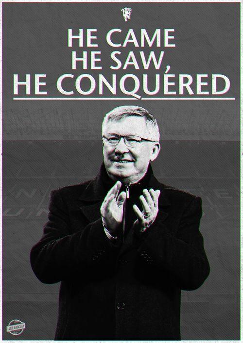 He came, he saw, he conquered. Former @manutd manager Sir Alex Ferguson.