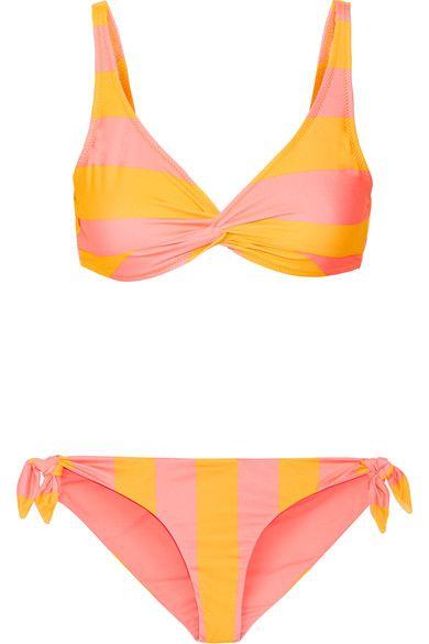 Solid and Striped - The Jane Striped Triangle Bikini - Yellow -