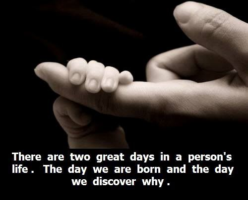 There are two great days in a person's life. The day we are born and the day we discover why.Baby Grand, Baby Quotes, Wonder Quotes, New Life, Inspiration Thoughts, Child Quotes, Lifecut Baby, Love Quotes, Beautiful Quotes