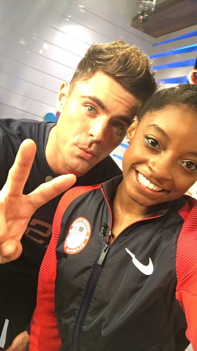 NBC Olympics Retweeted Simone Biles ‏@Simone_Biles Aug 16 he kissed me on the cheek just letting y'all know @ZacEfron