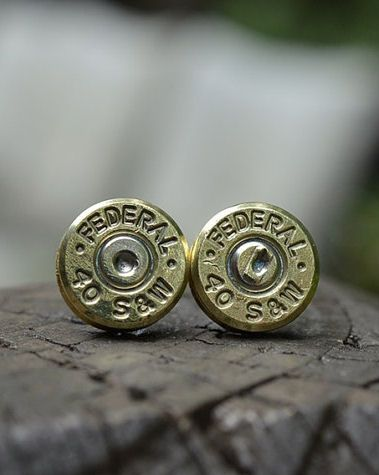 Bullet Stud Earrings... Would be cool to find bullet cuff links for a gift.