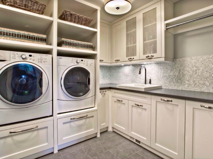 Traditional Laundry Room with Ms international onyx pearl 12 in. x 12 in. polished porcelain tile, Hanging Bar, laundry sink