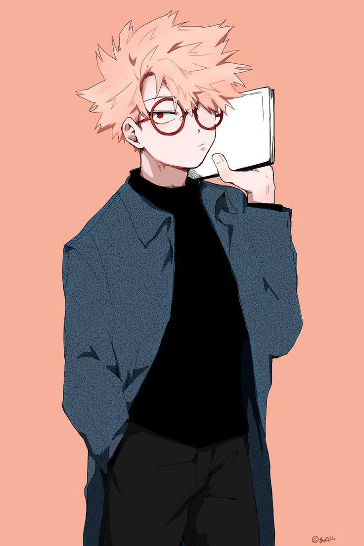 katsuki bakugou with glasses nerdy boku no hero academia
