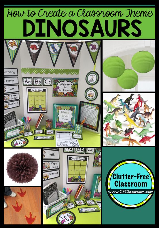 Are you planning a Dinosaur themed classroom or thematic unit? This blog post provides great decoration tips and ideas for the best Dinosaur theme yet! It has photos, ideas, supplies & printable classroom decor to will make set up easy and affordable. You can create a Dinosaur theme on a budget!