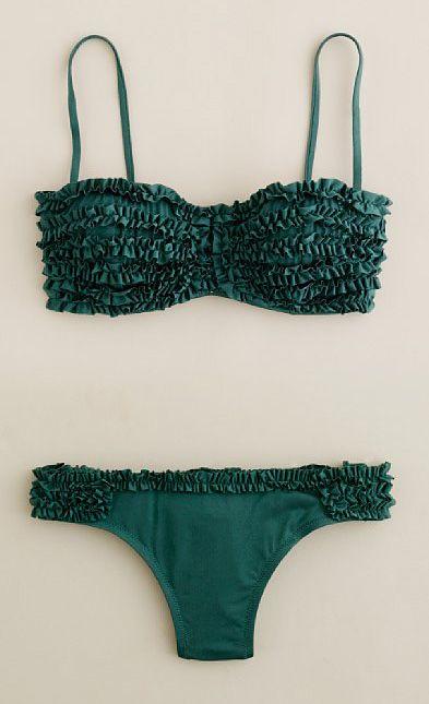 J. Crew Ruffled Bikini in Emerald..... Different color and it be pretty cute :)