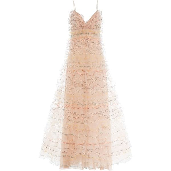 Valentino Floor Length Gown (137.515 UYU) ❤ liked on Polyvore featuring dresses, gowns, long dress, pink, pink gown, long pink dress, tulle ball gown, pink tulle gowns and long dresses