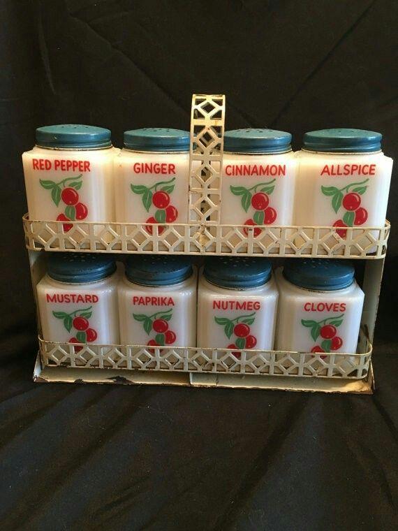Wonderful 1950s Milk Glass Spice Set