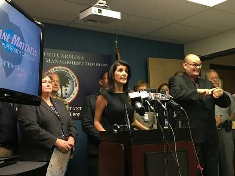 SC Gov. Nikki Haley speaks at a press conference on Hurricane Matthew on Wednesday at the South Carolina Emergency Operations Center.