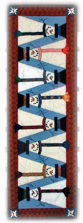 Topsy Turvy Snowman Quilt Pattern - this winter quilt makes a cute quilted table runner