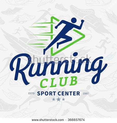 Running club logo template. Running club design elements and sport equipment icons. Vector running club seamless pattern or background.