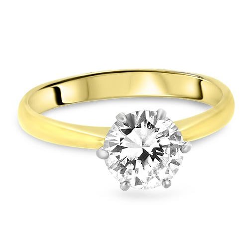 18ct Yellow Gold 2.10ct Solitaire Engagement Diamond Ring