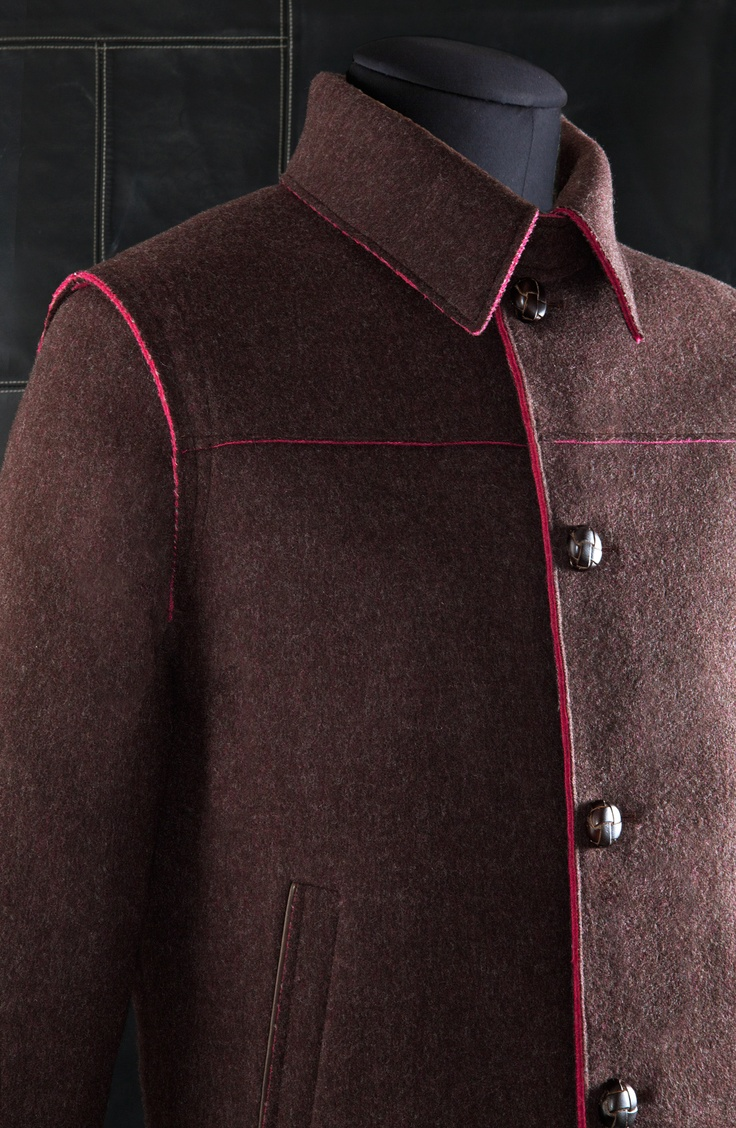 Loden Jacket raw edges cut: style UG2 Double check in contrasting color