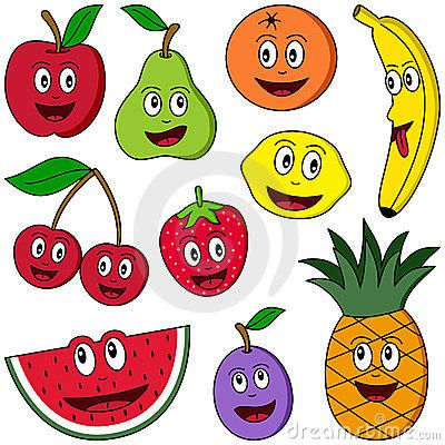 Collection of ten funny cartoon fruits (apple, pear, orange, banana, cherries, strawberry, lemon, watermelon, plum and pineapple) isolated on white background. Useful also for educational or preschool books for kids. Eps file available.