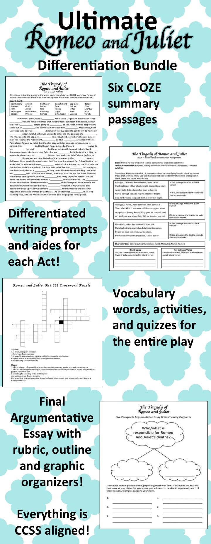 images about romeo et juliet plays student this ultimate ldquoromeo and julietrdquo differentiation bundle includes everything you will need to help